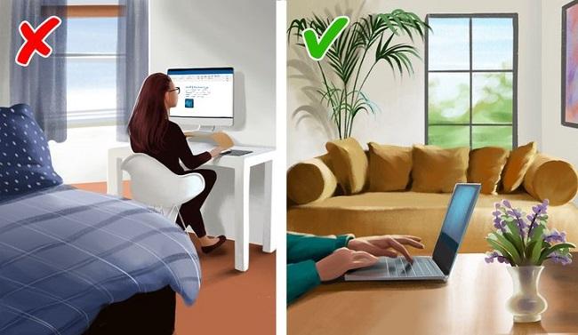 Nếu có thể, bạn nên di chuyển bàn làm việc ra khỏi phòng ngủ của mình.