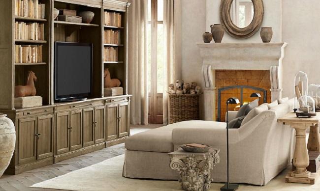 Phòng khách nhỏ thoáng gọn và tiện nghi hơn với hệ tủ lưu trữ tích hợp chức năng kệ tivi.