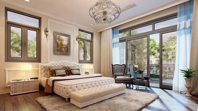 Tạo vật cản giữa giường ngủ và cửa để hóa giải bằng cách treo rèm quanh giường hoặc