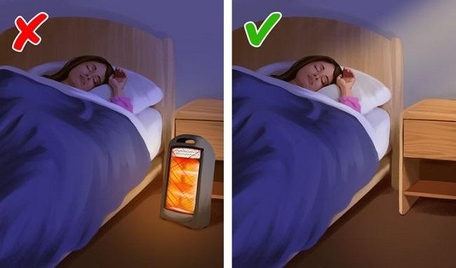 Trước khi ngủ hoặc rời khỏi phòng nên tắt máy sưởi.