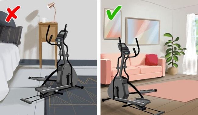 Việc đặt máy tập thể dục trong phòng ngủ không được khuyến khích.